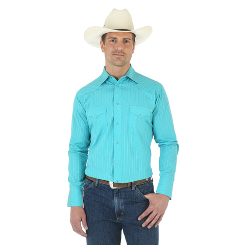 Wrangler Mens Turquoise Cotton Blend Striped L/S Shirt