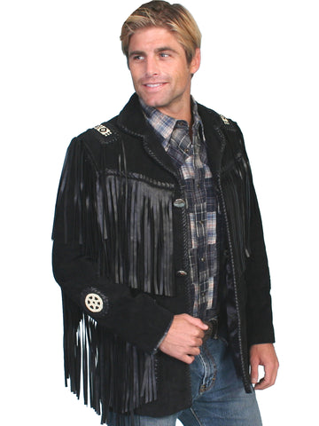 Scully Leather Mens Mountain Man Handlaced Bead Trim Coat Black