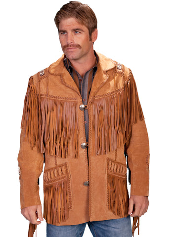 Scully Leather Mens Mountain Man Handlaced Bead Trim Coat Bourbon