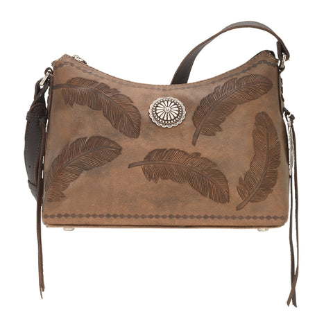 American West Sacred Bird Zip Top Shoulder Bag Charcoal Brown Leather