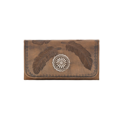 American West Sacred Bird Trifold Wallet Charcoal Brown Leather