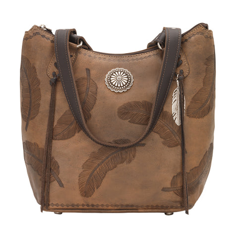American West Sacred Bird Zip Top Bucket Tote Charcoal Brown Leather