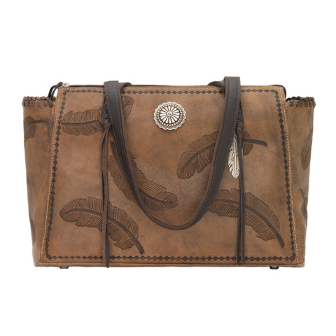 American West Sacred Bird Zip Top Tote Charcoal Brown Leather