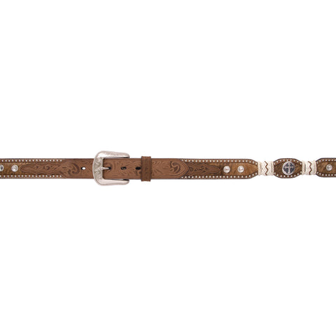 3D Brown Full Grain Leather Mens Belt Hair On Inlay Crystal Concho