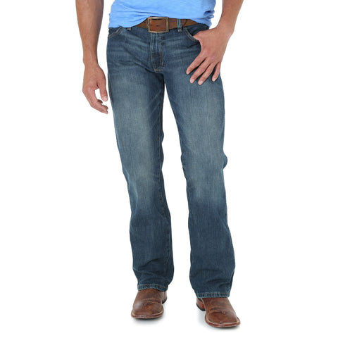 Wrangler Mens River Wash Cotton Blend Premium Patch 77 Jeans