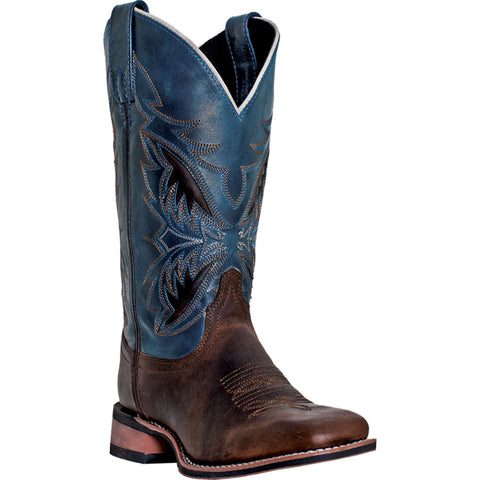 Laredo Mens Blue Leather Deep Dip 11in Embroidered Cowboy Boots