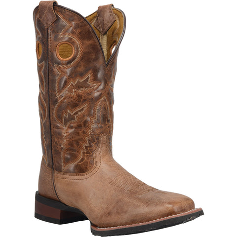Laredo Mens Beige/Brown Cannon 12in Square Toe Cowboy Boots Leather