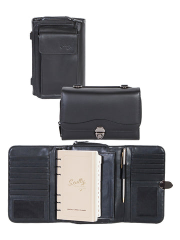 Scully Accessories Black Soft Plonge Leather 6 Ring Complete Organizer
