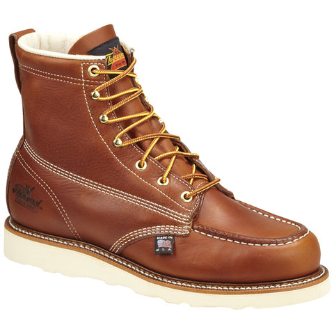 Thorogood Mens Wedges Brown Leather Work Boots 6in Moc Safety Toe