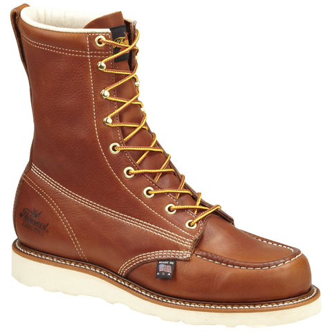 Thorogood Mens Tobacco 8in ST American Heritage Leather Wedge Work Boots