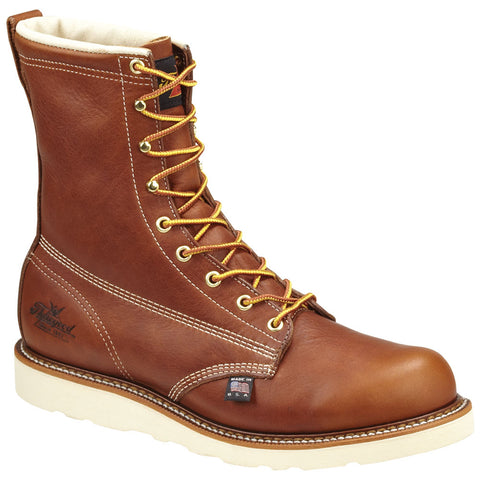 Thorogood Mens Wedges Brown Leather Work Boots 8in Plain Safety Toe