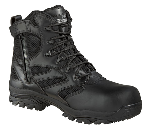 Thorogood Mens Black Leather Tactical Composite Toe 6in WP Side Zip
