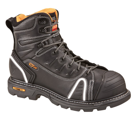 ac1e8a0322d Thorogood Mens Genflex Black Leather Work Boots 6in Lace-to Safety Toe