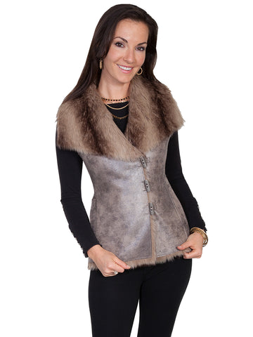 Scully Honey Creek Womens Brown Polyester Suede Toggle Faux Fur Vest