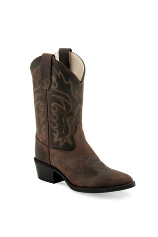 Old West Dark Brown Youth Boys Leather Pointed Toe Cowboy Boots
