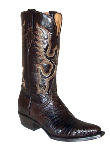Womens Ferrini Brown Cowgirl Chocolate Teju Lizard Western V Toe Boots
