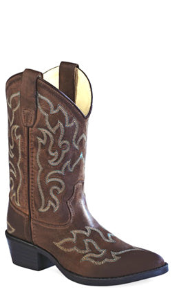 Old West Chocolate Childrens Boys Leather J Toe Cowboy Western Boots
