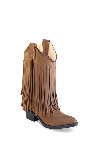 Old West Tan Kids Girls Corona Leather Fringe Fashion Boots