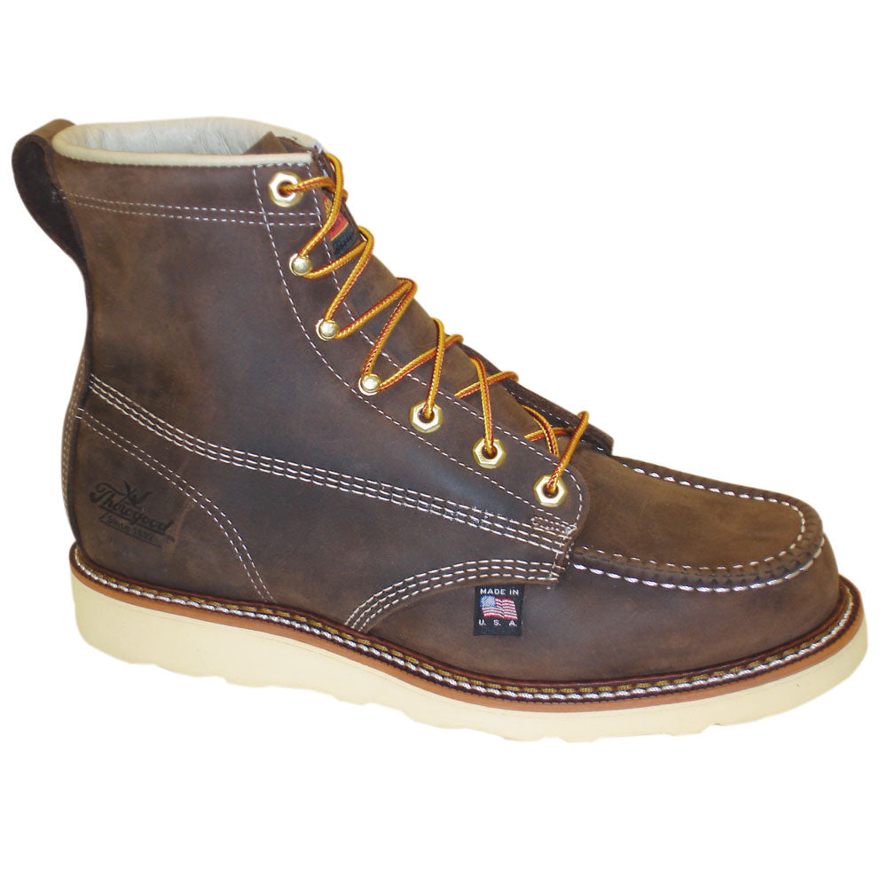 b1f7f823eb0 Thorogood Mens Wedges Brown Leather Non-Safety Boots 6in Moc Toe ...