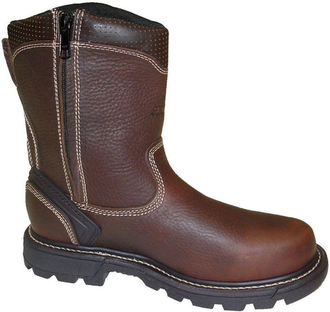 Thorogood Mens Genflex Brown Leather Work Boots Side Zip Wellington