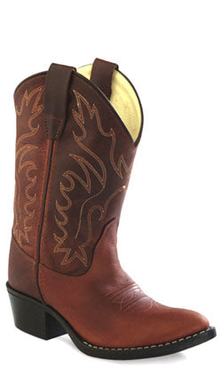 Old West Rust Childrens Boys Oiled Leather J Toe Cowboy Western Boots