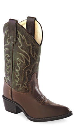 Old West Chocolate Childrens Boys Leather J Toe Cowboy Western Boots 9 D