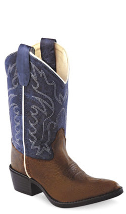 Old West Blue Childrens Boys Oily Leather J Toe Cowboy Western Boots