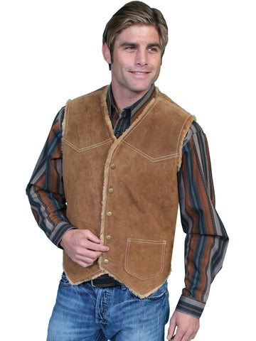 Scully Leather Mens Suede Hunting Vest Faux Fur Insulated Cafe Brown
