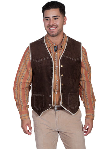Scully Mens Chocolate Boar Suede Hunting Vest