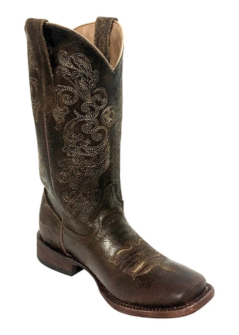 Ladies Dark Chocolate Southern Charm Leather S-Toe Cowboy Boots