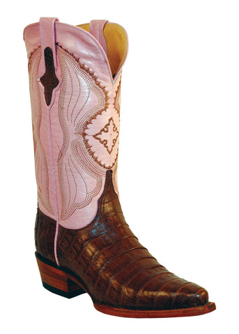 Womens Ferrini Brown Chocolate Belly Caiman Crocodile V Toe Western Boots
