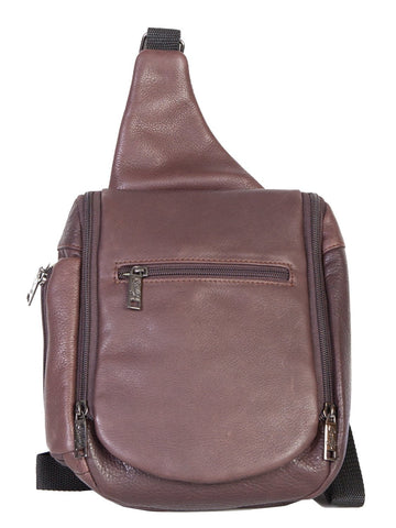 Scully Accessories Chocolate Soft Plonge Leather Small Travel Sling