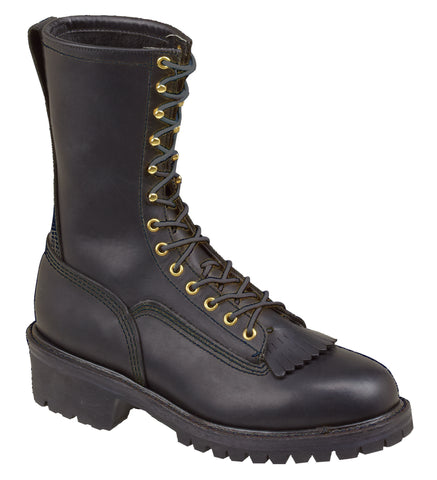 Thorogood Mens USA Made Black Leather Kiltie 10in Wildland Fire Boot