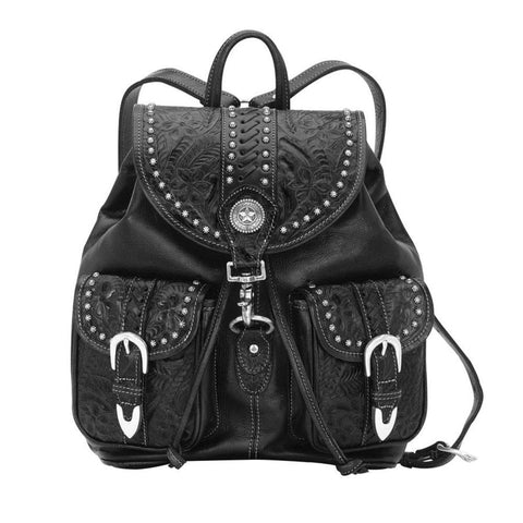 American West Retro Romance Black Tooled Leather Drawstring Backpack