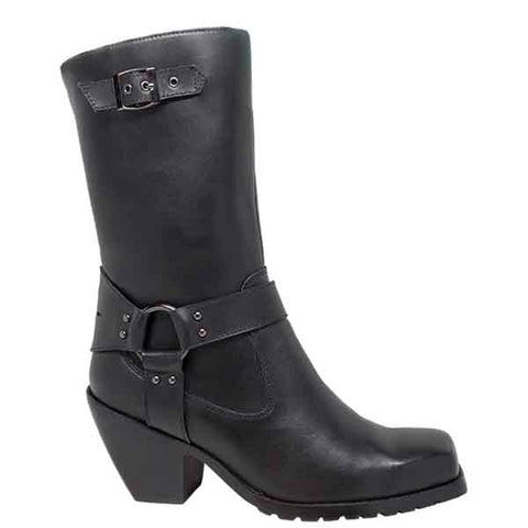 Ride Tecs Womens Black 11in Fashion Harness Boot Leather Motorcycle
