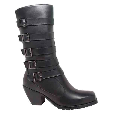 Ride Tecs Womens Black 13in Five Buckle Biker Boot Leather Motorcycle