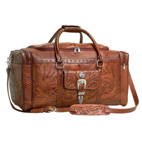 American West Retro Romance Zip Around Rodeo Bag Antique Brown Leather Tooled