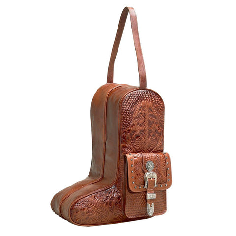 American West Retro Romance Boot Bag Antique Brown Leather Tooled Buckle