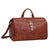 American West Retro Romance Duffel Bag Antique Brown Leather Tooled Buckle