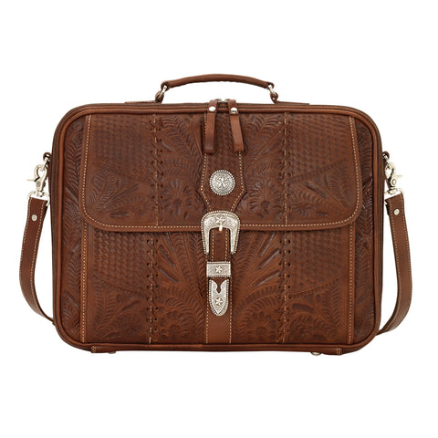 American West Retro Romance Antique Brown Leather Laptop Briefcase