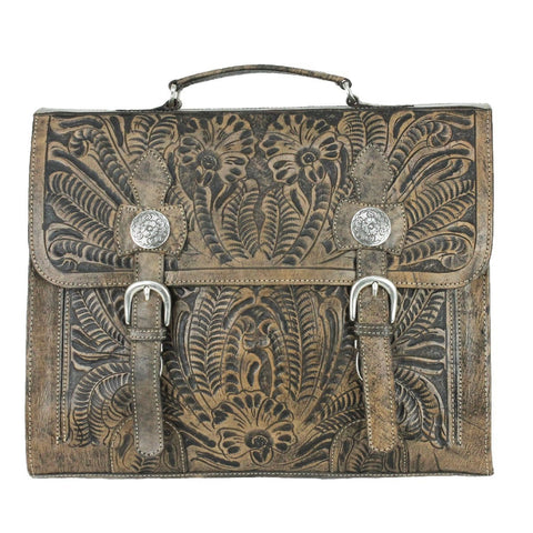 American West Stagecoach Distressed Charcoal Leather Laptop Briefcase