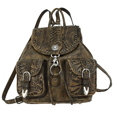 American West Retro Romance Distressed Charcoal Leather Drawstring Backpack