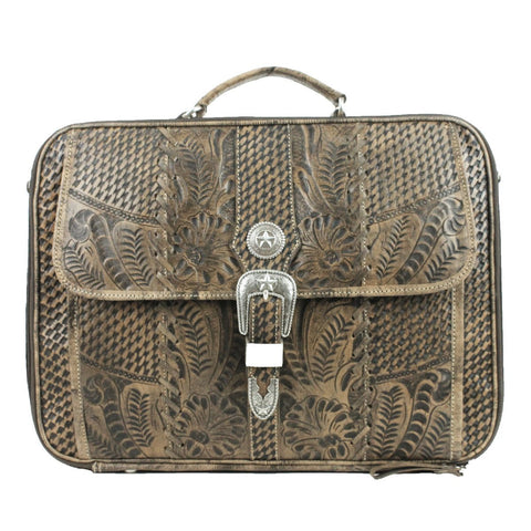 American West Retro Romance Distressed Charcoal Leather Laptop Briefcase