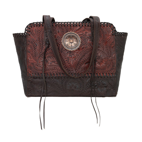American West Annie's Secret Collection Zip Top Tote Crimson Leather