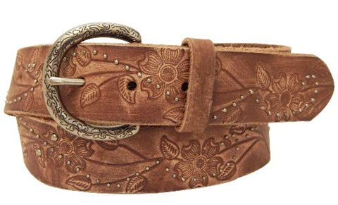 Roper Womens Brown Leather Floral Belt