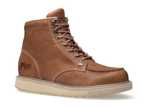 c9516b526833 Timberland Pro Moc Toe 6In Barstow Wedge Mens Rust Leather Work Boots