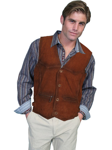 Scully Leather Mens Buffed Lamb Button Front Western Vest Brown