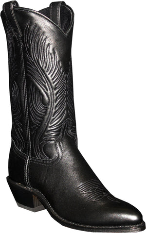 Abilene Womens Black Leather 11in J Toe Cowboy Boots