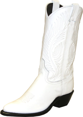 Abilene Womens White Leather 11in Cowboy Boots