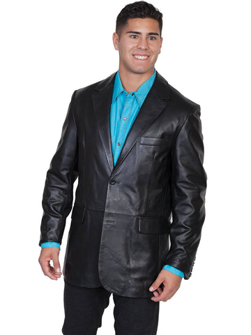 Scully Leather Mens Black Lambskin Button Front Blazer